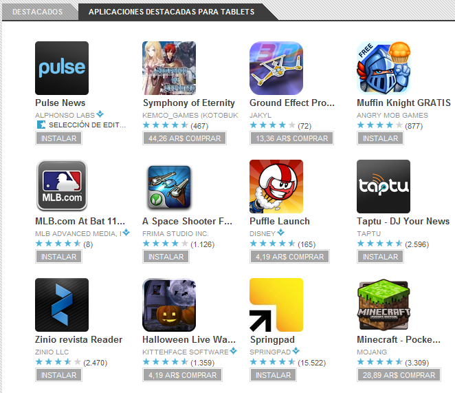 Android Market para Tablets